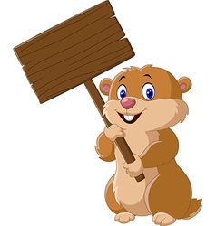 Cute Groundhog holding blank sign vector