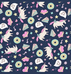 Cute seamless unicorn pattern vector