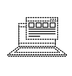 Dotted shape laptop with business virtual document vector