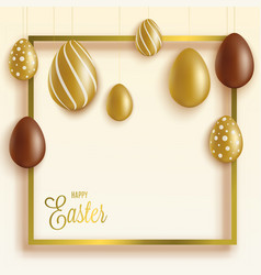 easter card or banner with chocolate and gold egs vector image
