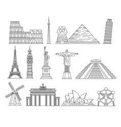 Famous travel landmark icon set isolated on white vector