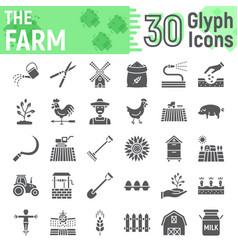 Farm glyph icon set farming symbols collection vector