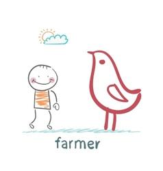Farmer next to the chicken vector