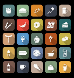 Fast food flat icons with long shadow vector