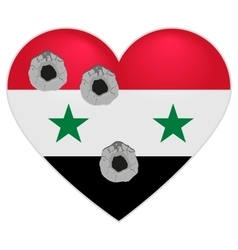 Flag of Syria Syria Heart pierced by bullets vector