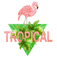 Flamingo and tropical leaves vector