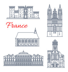 France architecture landmarks of angers vector