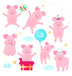 funny pigs having fun cute piglets celebrate vector image