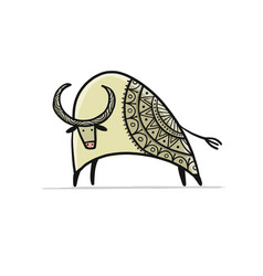 funny sketch bull lunar horoscope sign happy new vector image
