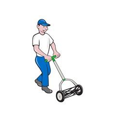Gardener Mowing Lawn Mower Retro vector
