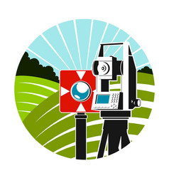 geodetic instruments and green fields symbol vector image