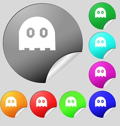 Ghost icon sign Set of eight multi colored round vector