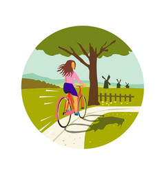 Girl riding bicycle up tree circle retro vector