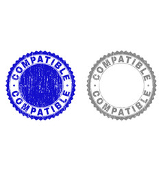 Grunge compatible textured stamp seals vector