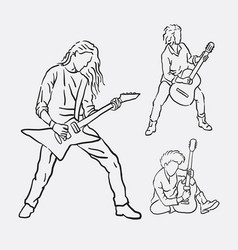 guitarist musician male action hand drawing vector image