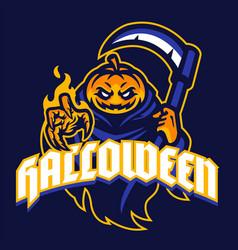 halloween pumpkin mascot in sport logo style vector image