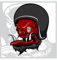 Hand drawing devil wearing motorcycle helmet vector