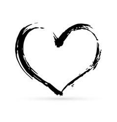 Hand drown heart black textured brush stroke vector