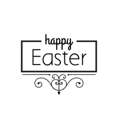 Happy Easter black ornament lettering vector image