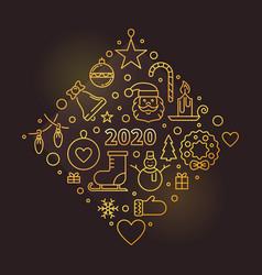 Happy new year 2020 golden outline vector