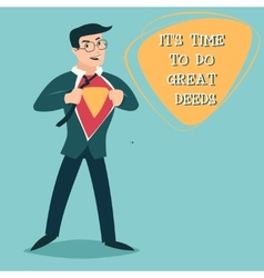 Happy Smiling Businessman Turns in Superhero Suit vector image