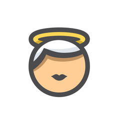 Holy face with halo icon cartoon vector