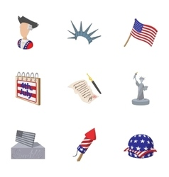 Independence day usa icons set cartoon style vector