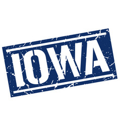 Iowa blue square stamp vector