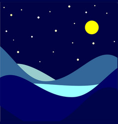 landscape moonlit night vector image