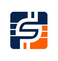 letter s logo design tech s letter icon logo s vector image