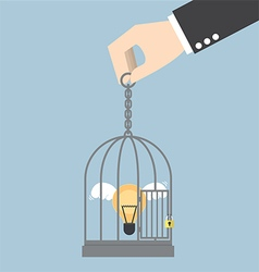 Light bulb of idea locked in a cage vector image