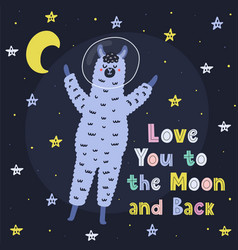 love you to moon and back card with a cute vector image