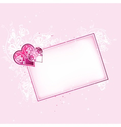 lovely pink hearts with card vector image