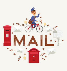 Mail box envelope postman deliveryman post vector