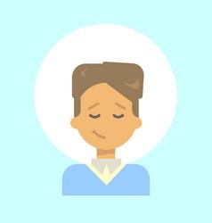 male closed eyes emotion profile icon man cartoon vector image