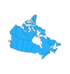Map canad with provinces and territories vector