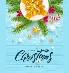 merry christmas and happy new year banner holiday vector image