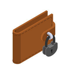 Money is protected wallet and padlock lock purse vector