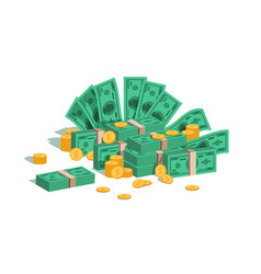 Money pile bundle with flying dollars and rolling vector