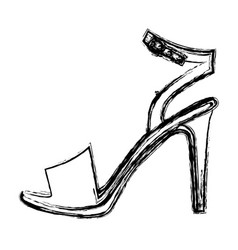 Monochrome blurred contour of high heel sandal vector