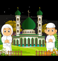 Mosque with kids in night cartoon vector