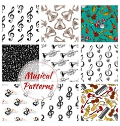 Music musical instruments seamless patterns set vector image