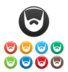 Neat beard icons set color vector