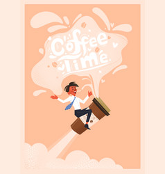 office employee drinks coffee hand drawn vector image