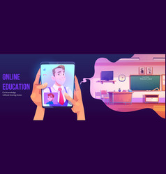 online education banner distance study at home vector image