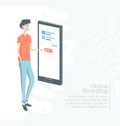 online shopping guy buy through the mobile phone vector image