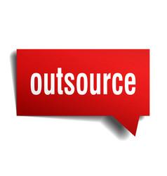 Outsource red 3d speech bubble vector