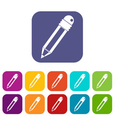 pencil with eraser icons set flat vector image