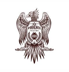 phoenix hand draw vector image
