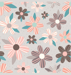 pink taupe flowers seamless pattern vector image